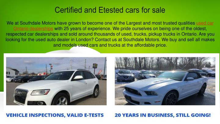 certified and etested cars for sale n.