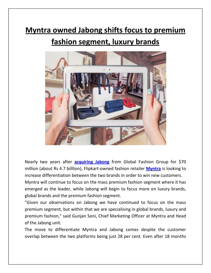 myntra owned jabong shifts focus to premium n.