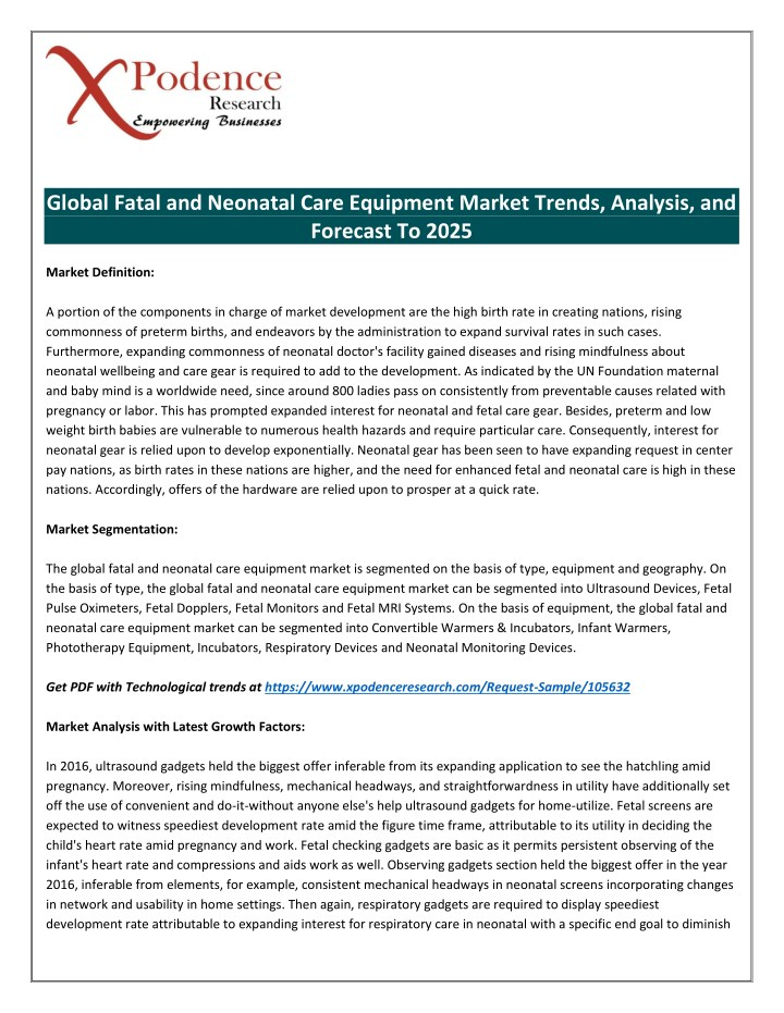global fatal and neonatal care equipment market n.