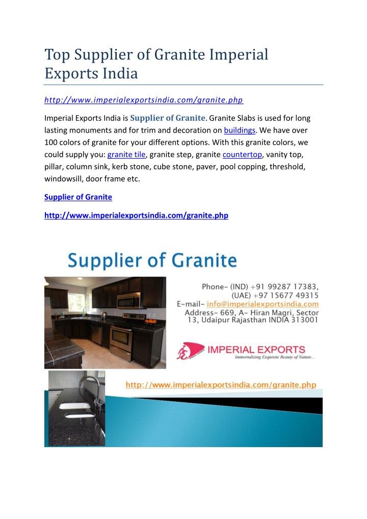 top supplier of granite imperial exports india n.