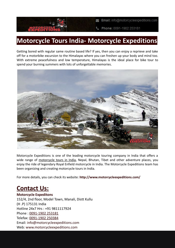 motorcycle tours india motorcycle expeditions n.