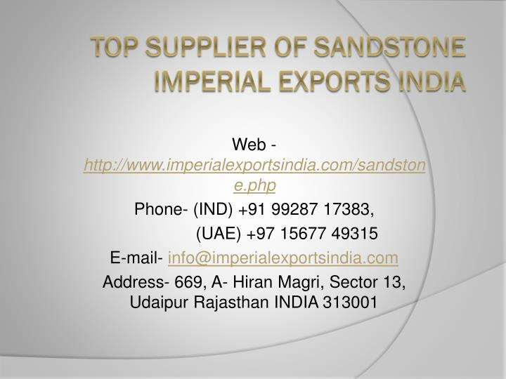 top supplier of sandstone imperial exports india n.