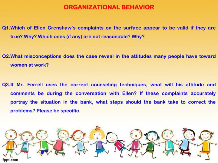 discussion questions organizational behavior Discuss the role attitudes play in organizational behavior in terms of help people adapt to their work environment they help employees adjust tot heir environments and are a basis for future behaviors.