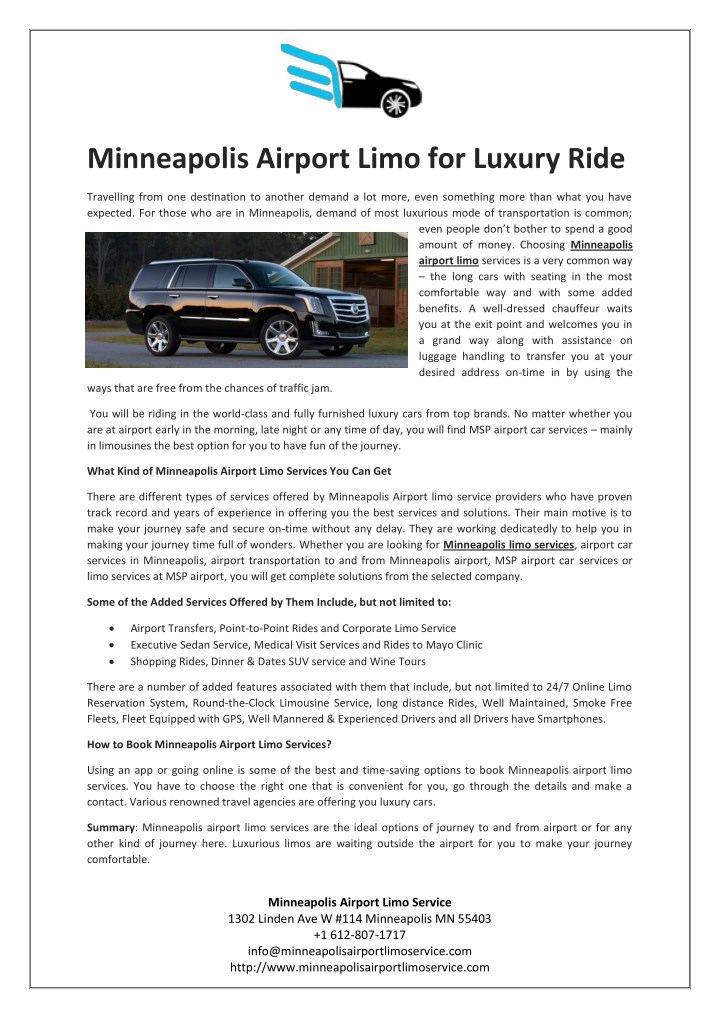 minneapolis airport limo for luxury ride n.