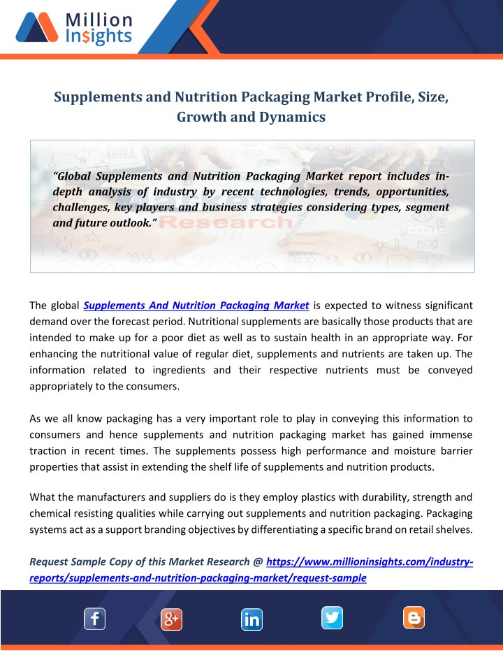 supplements and nutrition packaging market n.