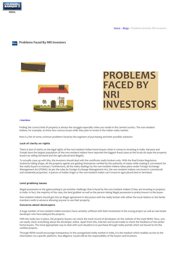 home blogs problems faced by nri investors n.