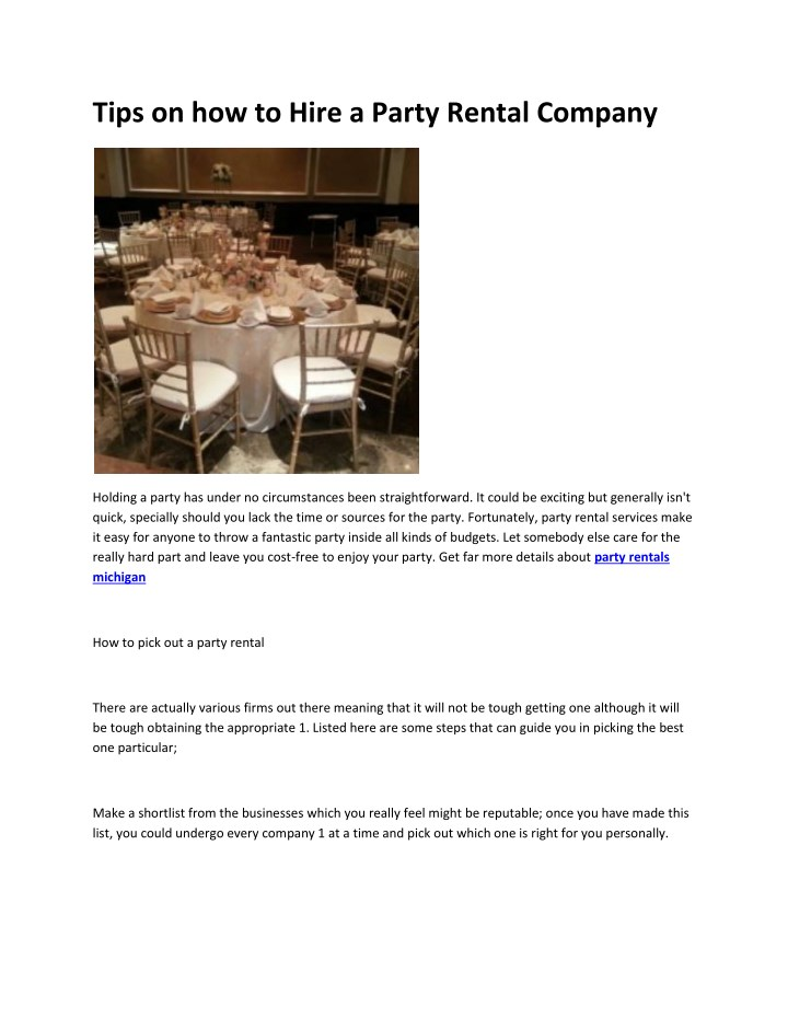 tips on how to hire a party rental company n.
