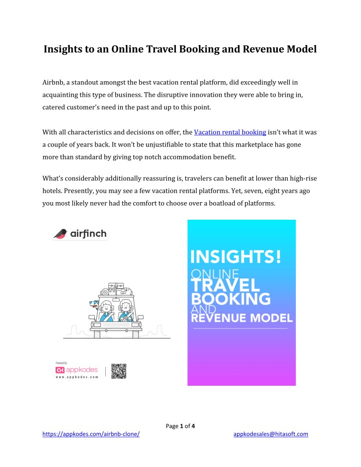 insights to an online travel booking and revenue n.