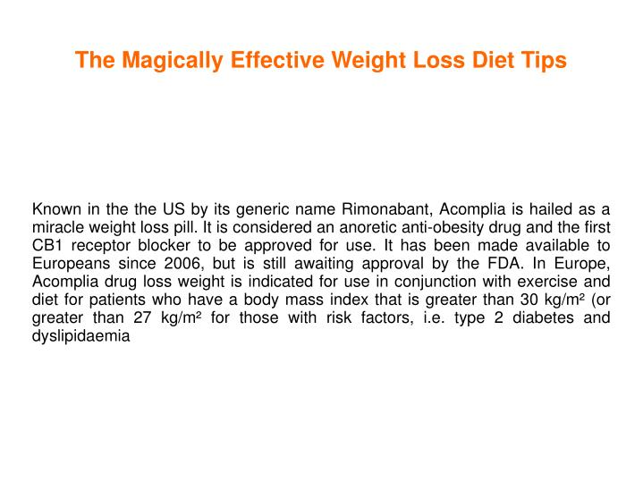 the magically effective weight loss diet tips n.