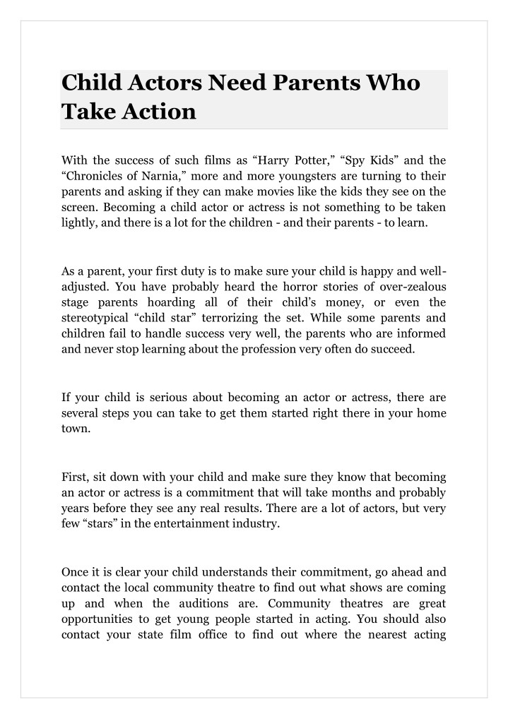 PPT - Child Actors Need Parents Who Take Action PowerPoint
