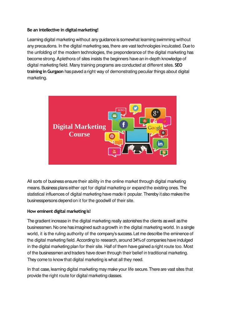 be an intellective in digital marketing learning n.