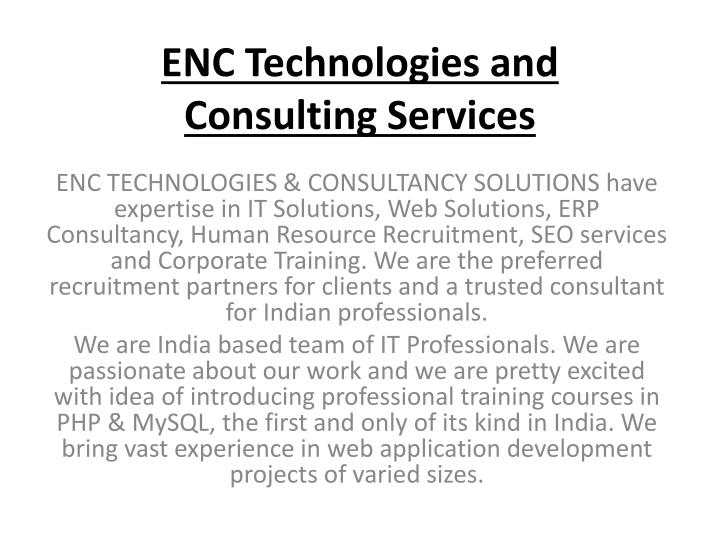 enc technologies and consulting services n.