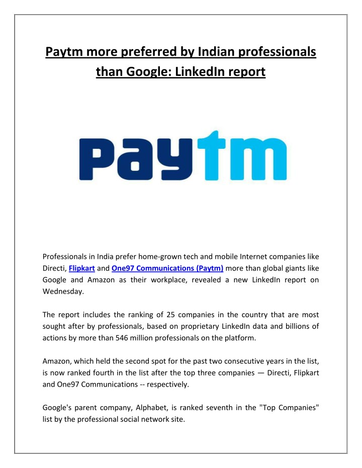 paytm more preferred by indian professionals than n.