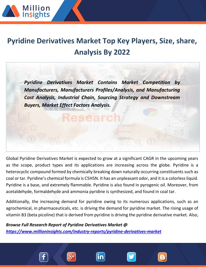 Ppt Pyridine Derivatives Industry Sales Area And Its