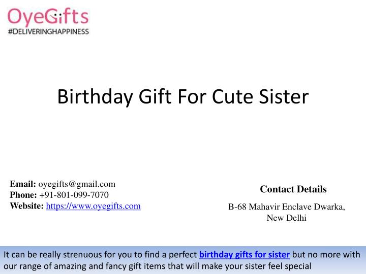 Birthday Gift For Cute Sister