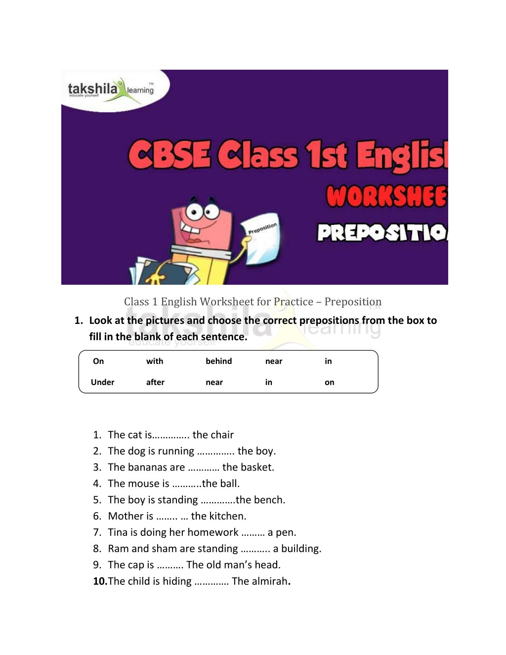 - PPT - Class 1 English Worksheet For Practice - Preposition