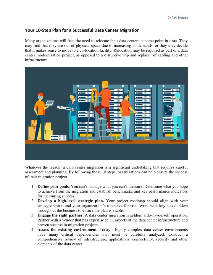 Your 10 Step Plan For A Successful Data Center Migration