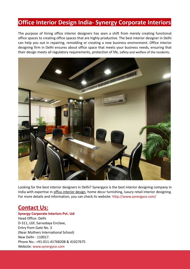 PPT - Office Interior Design India- Synergy Corporate