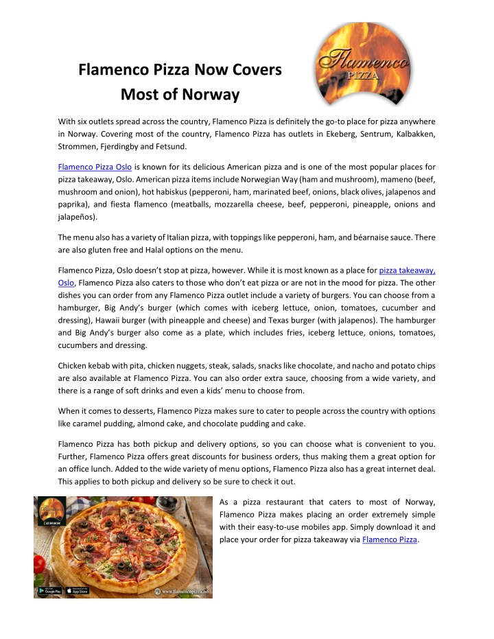 flamenco pizza now covers most of norway n.