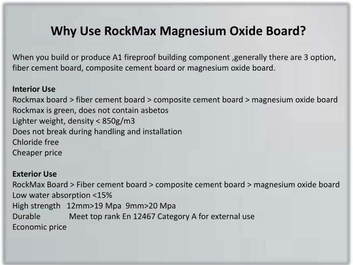 Why Use Rockmax Magnesium Oxide Board
