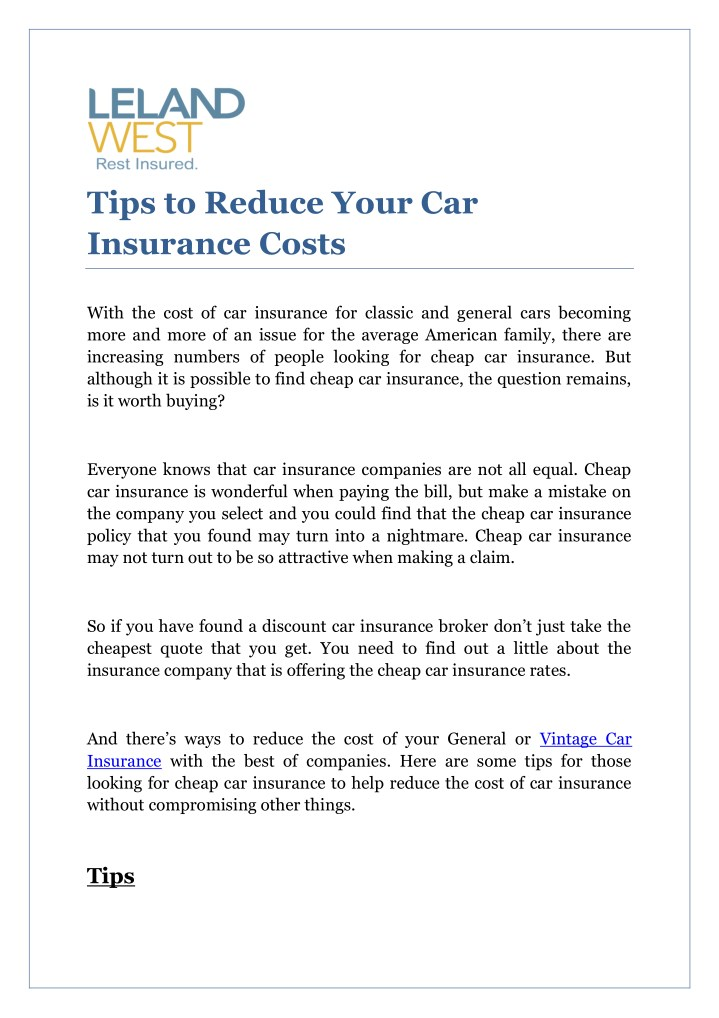 tips to reduce your car insurance costs n.