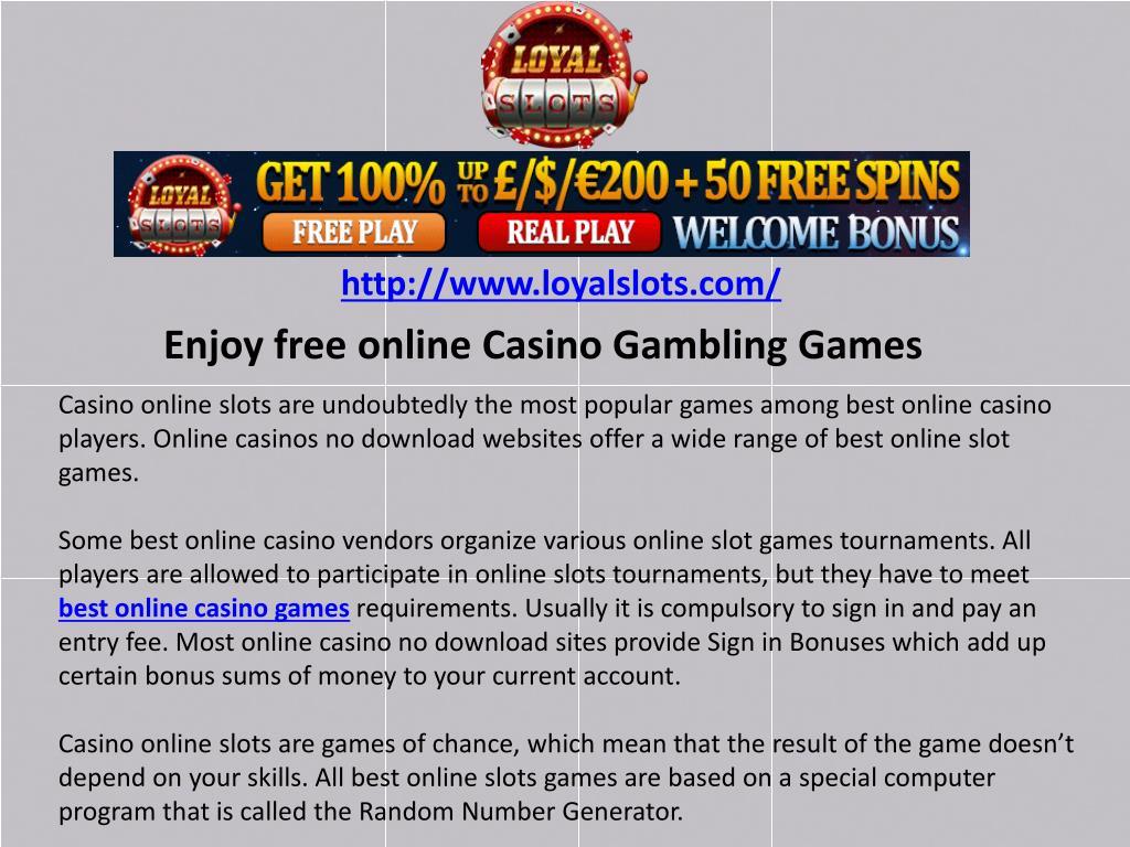 Ppt Enjoy Free Online Casino Gambling Games Powerpoint