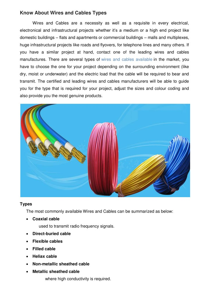 PPT - Know About Wires and Cables Types PowerPoint Presentation - ID ...