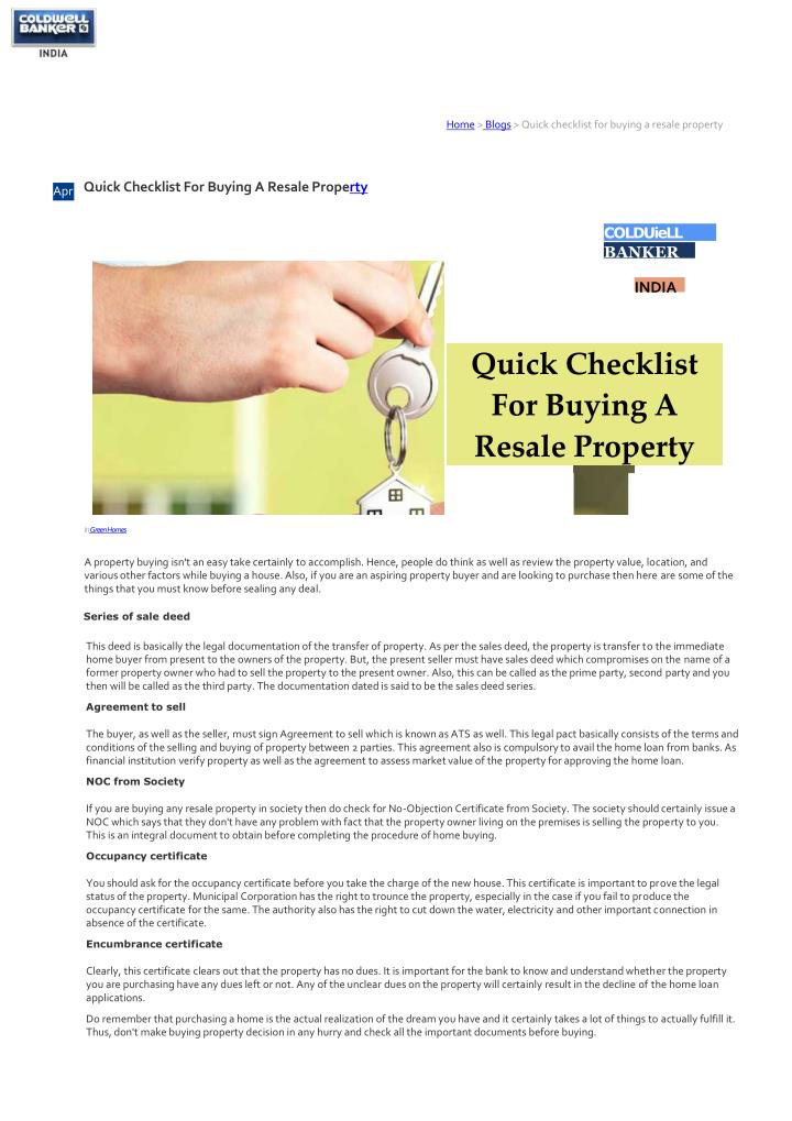 home blogs quick checklist for buying a resale n.