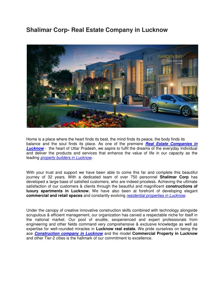 shalimar corp real estate company in lucknow n.