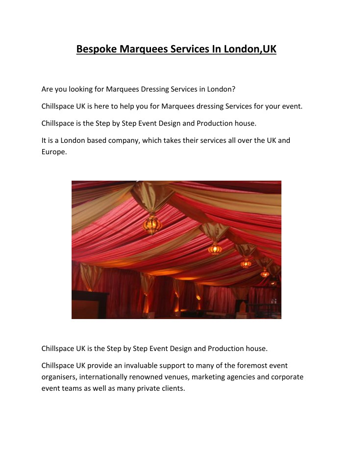 bespoke marquees services in london uk n.