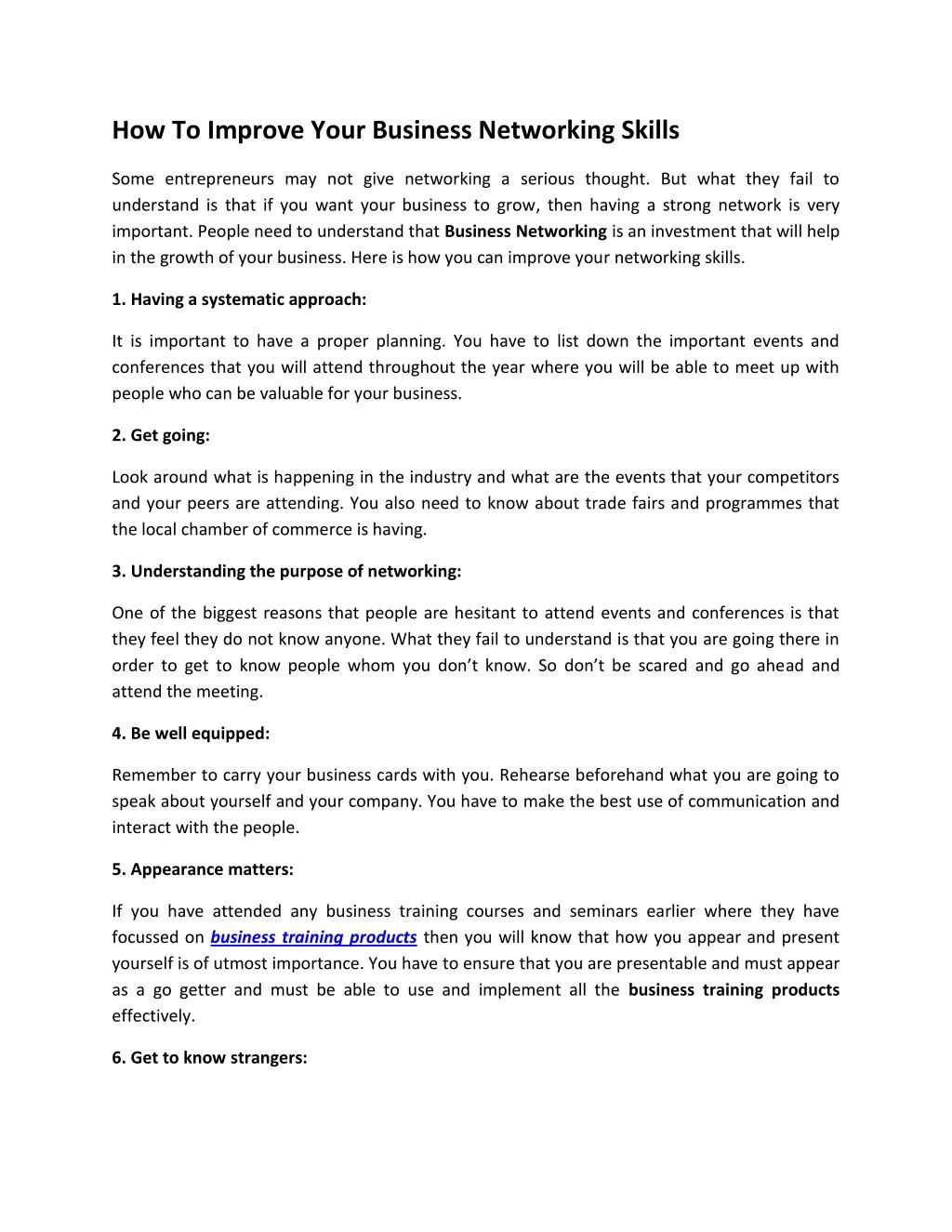 networking skills training