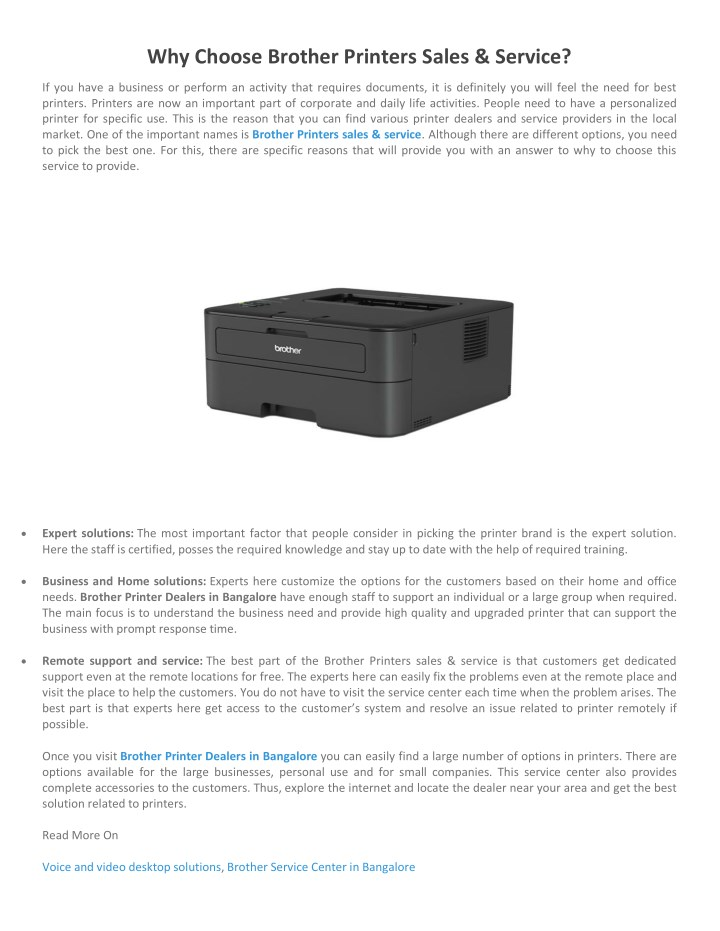 PPT - Why Choose Brother Printers Sales & Service