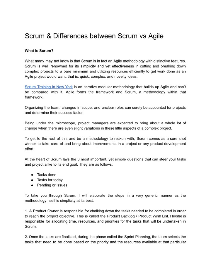 scrum differences between scrum vs agile n.