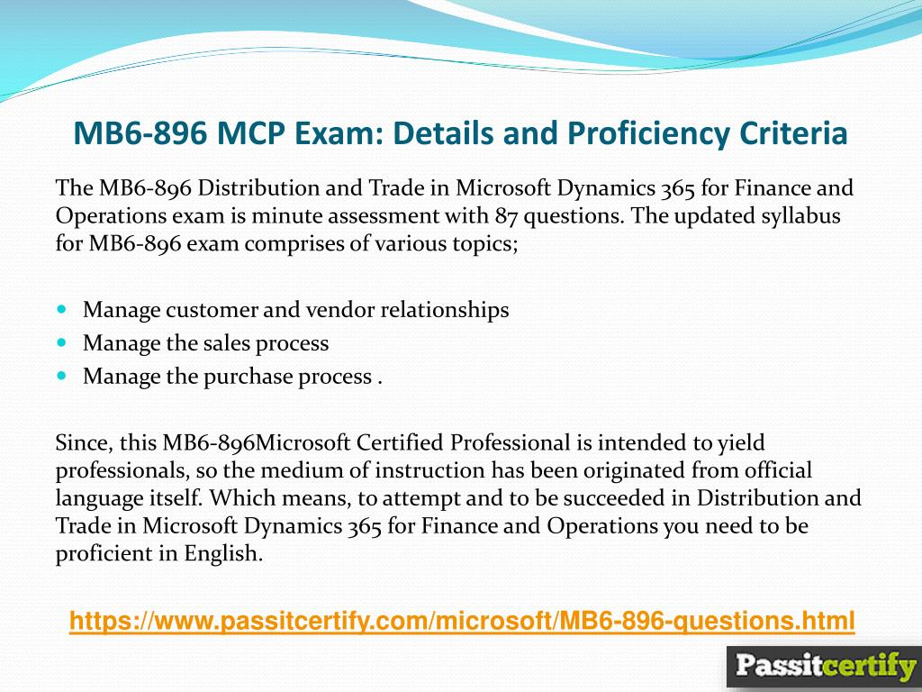 PPT - Microsoft MB6-896 Microsoft Dynamics Questions PowerPoint