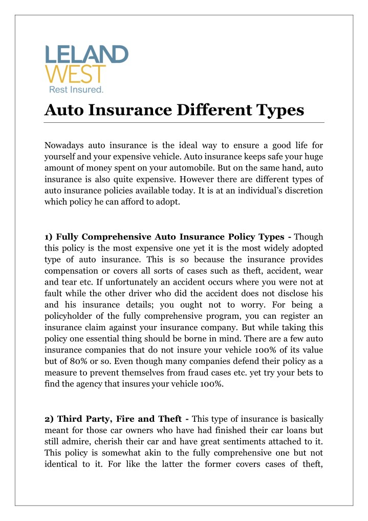 auto insurance different types n.