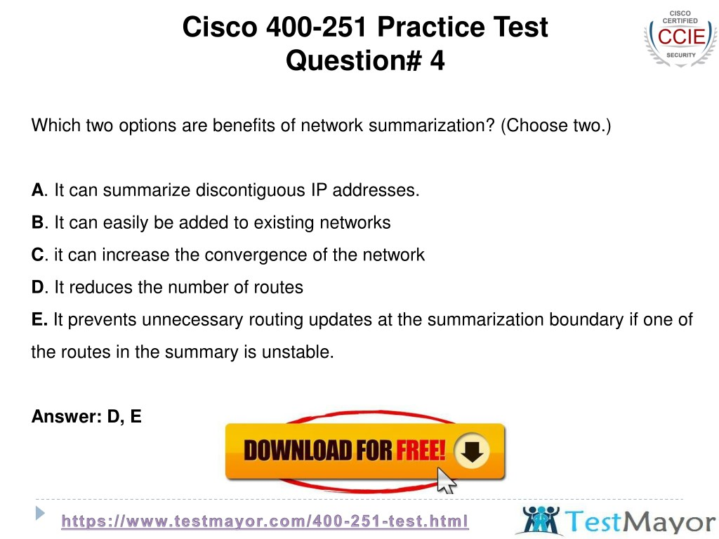 PPT - Cisco 400-251 Practice Test Questions PowerPoint