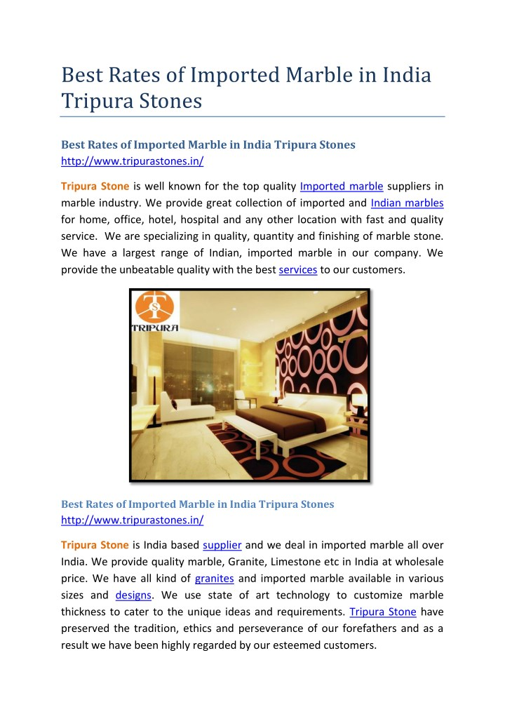 PPT - Best Rates of Imported Marble in India Tripura Stones