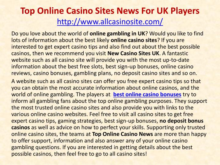 top online casino sites news for uk players http www allcasinosite com n.