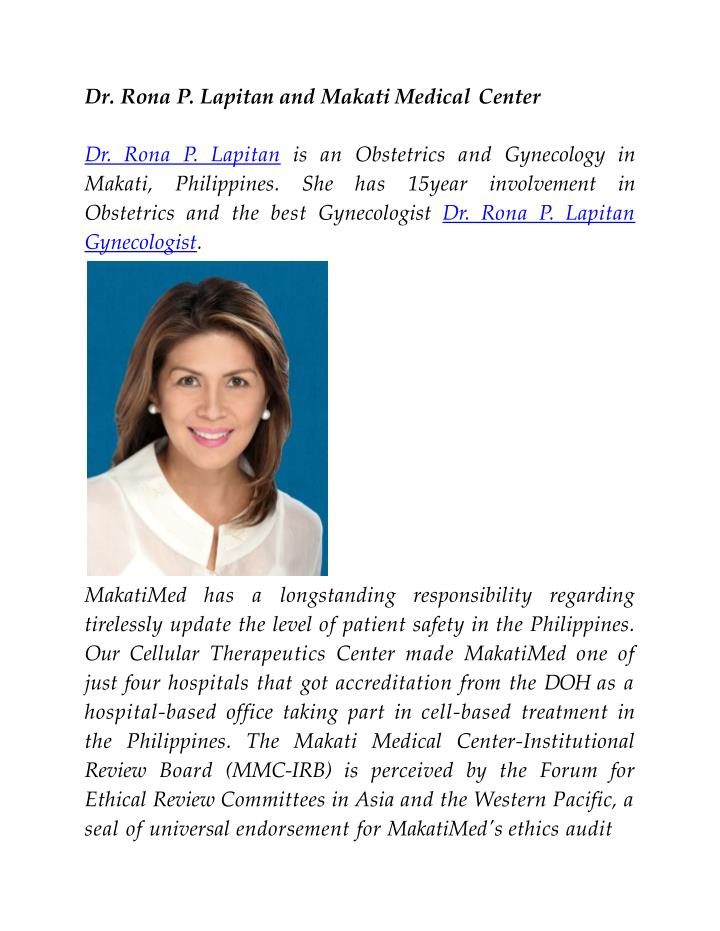 PPT - Dr  Rona P  Lapitan and Makati Medical Center PowerPoint