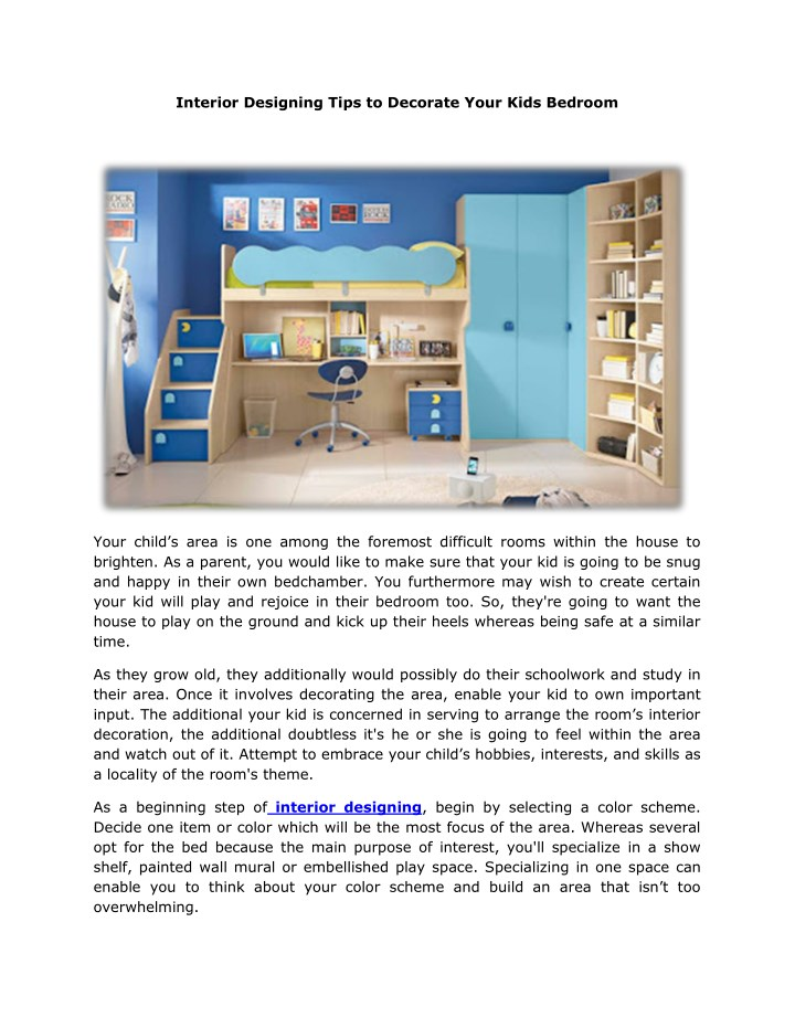 Ppt Interior Designing Tips To Decorate Your Kids Bedroom Powerpoint Presentation Id 7835161