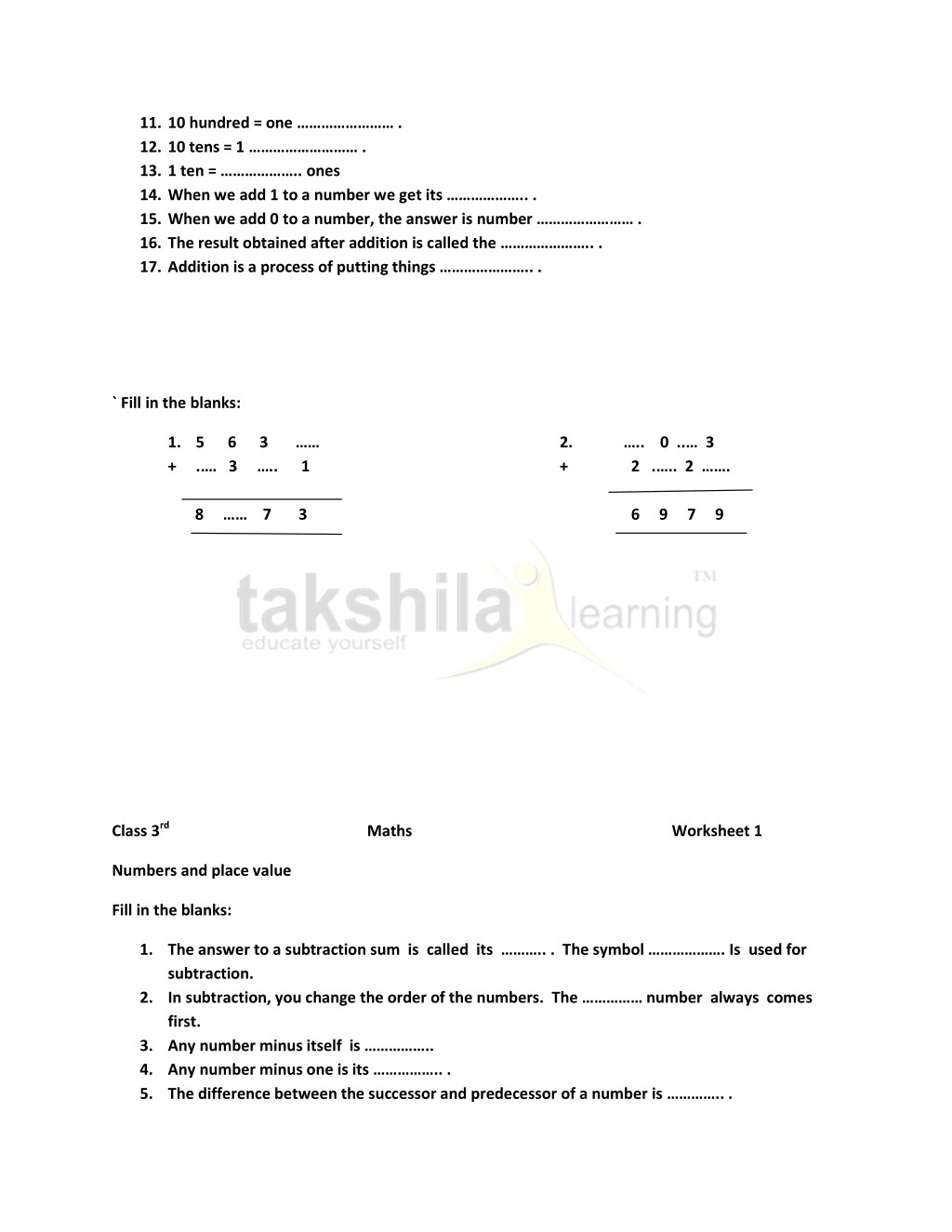 PPT - Practice Worksheet for Class 3 Maths - Numbers and