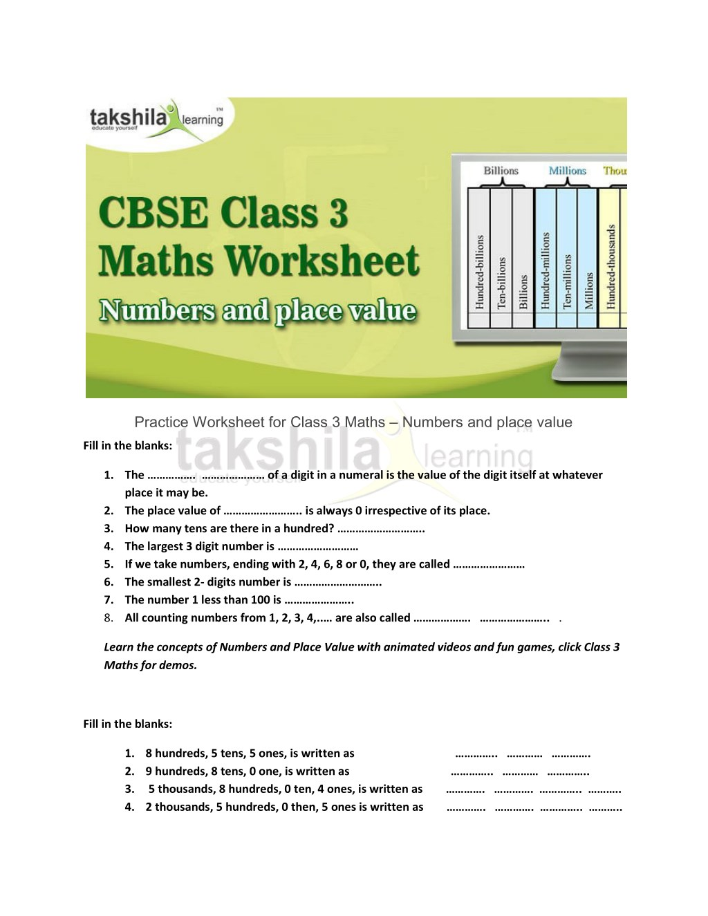 ppt  practice worksheet for class  maths  numbers and place value  practice worksheet for class  maths  numbers and place value  powerpoint  ppt presentation