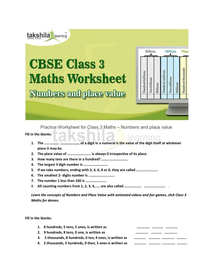 PPT - Practice Worksheet for Class 3 Maths - Numbers and place value