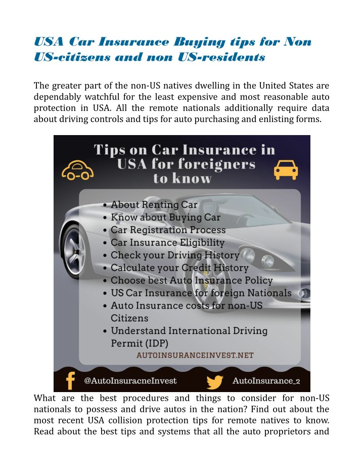 Usa Auto Insurance >> Ppt Car Insurance Buying Tips For Non Us Citizens