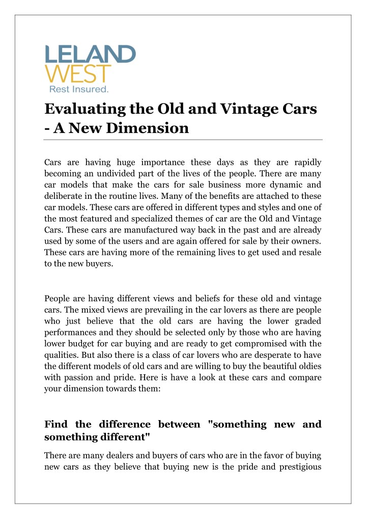 evaluating the old and vintage cars n.