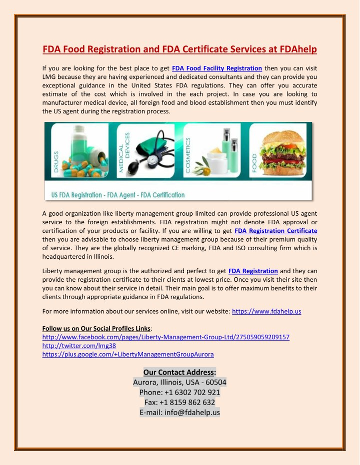 ppt fda food facility registration and fda certificates services