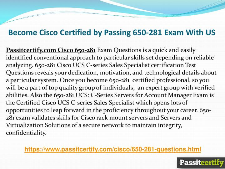 PPT - Cisco UCS C series Sales Specialist 650-281 Cisco Practice ...