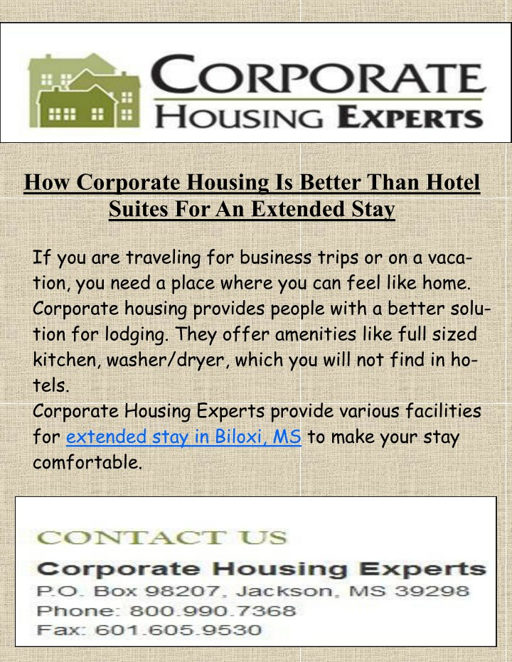 how corporate housing is better than hotel suites n.
