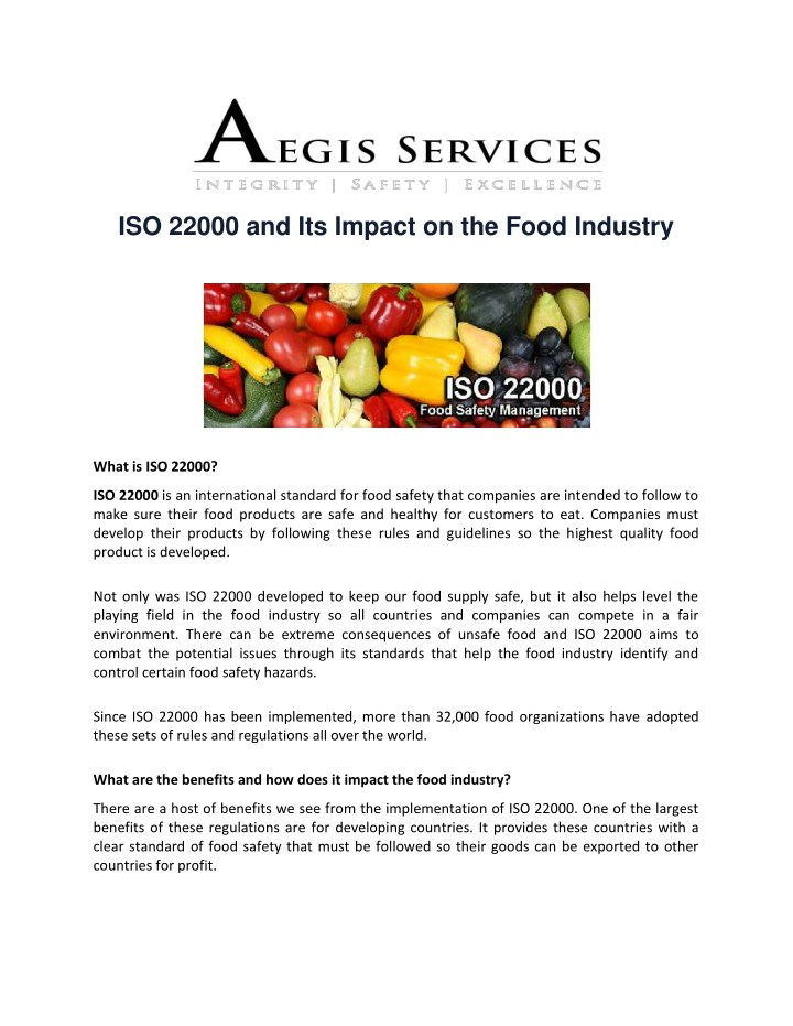 iso 22000 and its impact on the food industry n.