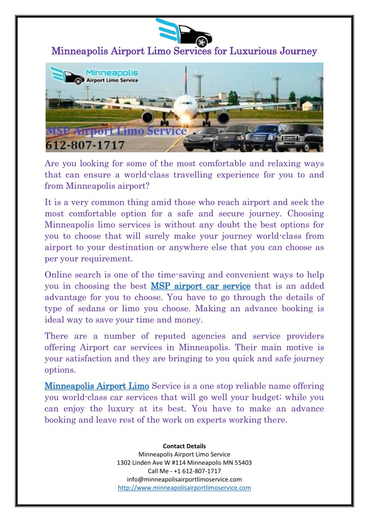 minneapolis airport limo services for luxurious n.